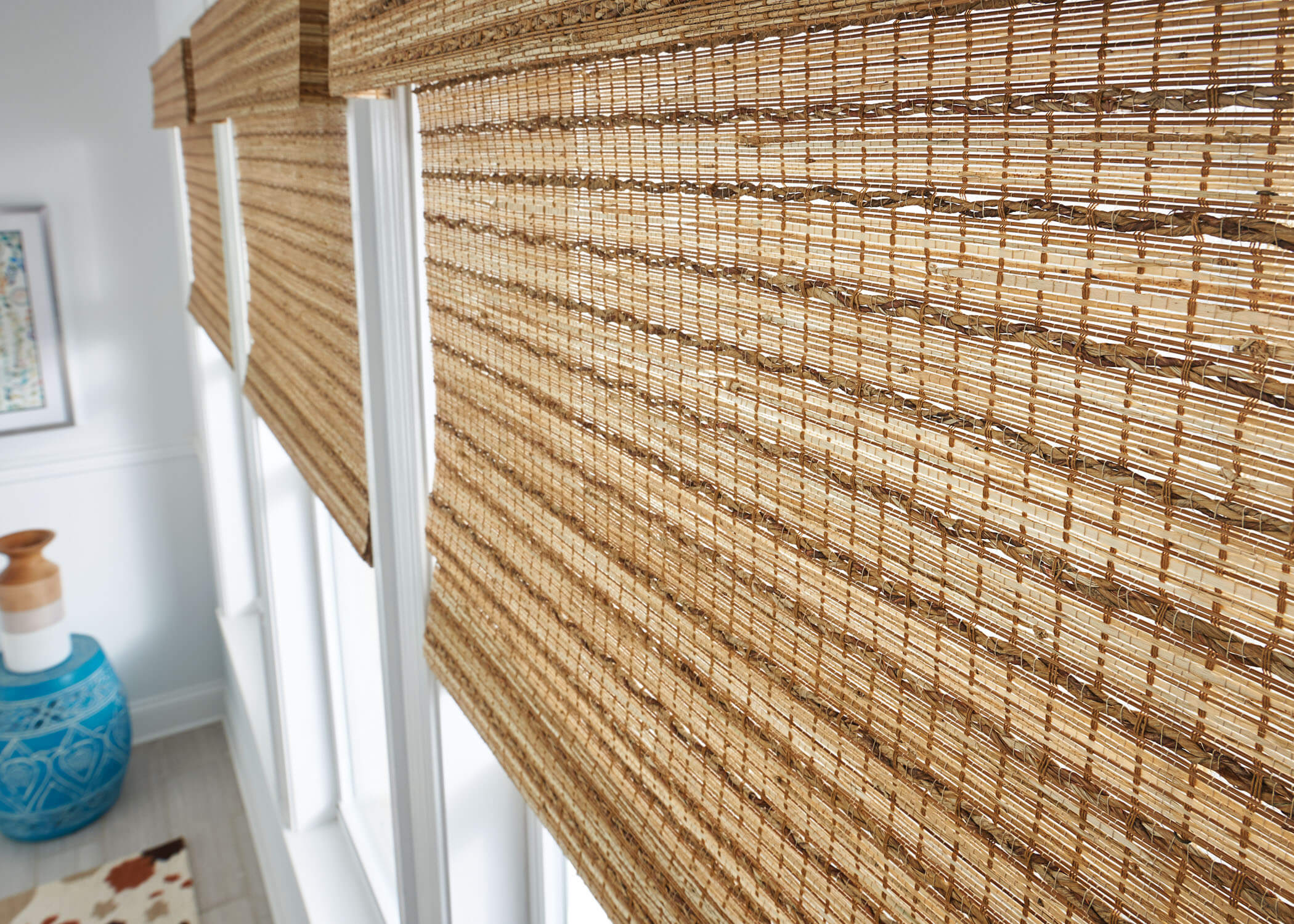 Natural woven shades affordable window treatments for Natural woven flat fold shades